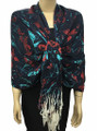 New! Pashmina Flowers Print Navy Blue Dozen #113-2