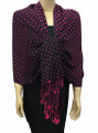 New! Pashmina Polka Dot Hot Pink / Black Dozen #110-2
