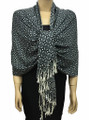 New! Pashmina Polka Dot Gray / Black Dozen #109--4