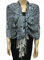 New! Pashmina Flowers Print Gray Dozen #108-3