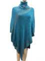 Solid Color Turtleneck Soft Feel Metallic Poncho Teal # P021-10