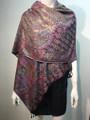 New! Pashmina  Metallic Black / hot pink Dozen #1120-7