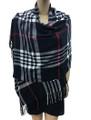 Cashmere Feel shawl  Scarves  Black # 961-2