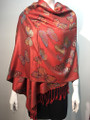 New!   Metallic  Butterfly   Pashmina  Red Dozen #P120-2