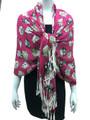 New!   owl Print Pashmina  Hot pink Dozen #123-3