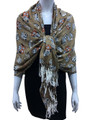 New!   owl Print Pashmina  Brown Dozen #123-4