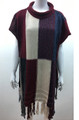 New !  Multicolored Pullover Short Sleeve  Poncho Burgundy # P208-4