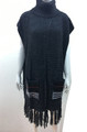 New ! Solid Color Pullover Turtleneck Short Sleeve Poncho Black # P213-2