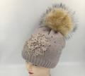 New! Flower Design Knit Hats with Stud dot  Assorted Dozen # H1211