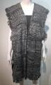 New !  Two Tone Knit Vest Poncho Black # P210-2