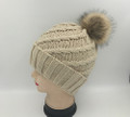 New!  Knit Cable Hats with Fur Ball Assorted Dozen #H1219
