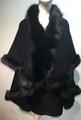 Elegant Women's - Faux Fur  Poncho Cape Black # P202-2