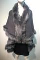 Elegant Women's - Faux Fur  Poncho Cape Gray # P202-3