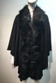 Elegant Women's - Faux Fur  Poncho Cape Black # P203-2