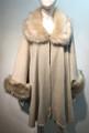 Elegant Women's - Faux Fur  Poncho Cape Beige # P206-1