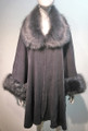 Elegant Women's - Faux Fur  Poncho Cape Gray# P206-4