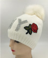 New! NY RhineStone Knit Rose Flower Hats with Fur Ball Assorted Dozen #H1216