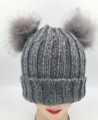 New!  Knit Beanie Hats with Faux Fur Pom Pom Ears  Assorted Dozen #H1105