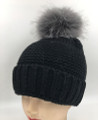 New! Unisex Beanie Hats with Faux Fur Two-tone Ball Black #H1144S