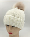New! Unisex Beanie Hats with Faux Fur Two-tone Ball White #H1144S