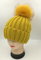 Unisex Beanie Hats with Fur Ball Yellow #H1179