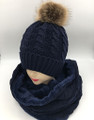 New! Knit Cable Hats with Fur Ball Infinity Scarf Sets Navy #HS1226