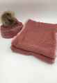 New!  Knit Hats with Fur Ball infinity scarf sets Assorted dozen #HS1227bb