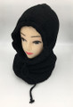 New! Soft Knit Pullover Hood Infinity Scarf Black # 1568