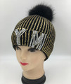 New! NY RhineStone Knit Hats with Fur Ball Assorted Dozen #H1215