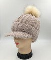 New! Knit Cable Hats with Fur Ball Assorted dozen   #H1230