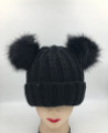 New!  Knit Beanie Hats with Faux Fur Pom Pom Ears  black #H1202