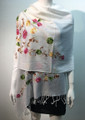 Flower Pattern Embroidered Scarf  White #122-2