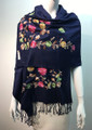 Flower Pattern Embroidered Scarf Navy #122-7