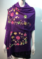Flower Pattern Embroidered Scarf Purple #122-8