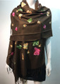 Butterfly  Embroidered Scarf Coffee #131-9