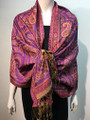 New!    Metallic Paisley Pashmina  Purple / Red Dozen #153-2