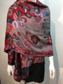 New! Pashmina  red / Black  Dozen #155-2