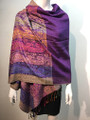 New!  Multicolor Paisley Pashmina  Purple Dozen #160-3