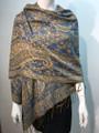 New!  Multicolor Paisley Pashmina  Blue / Beige Dozen #163-2