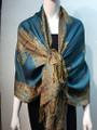 New!   Metallic Paisley Pashmina  Turquoise Dozen #P162-1