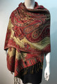 New!   Metallic Paisley Pashmina  Red Dozen # S166-4