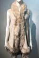 New! Elegant Women's - Faux Fur  Poncho Hooded Cape Beige # P205-1