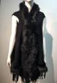 New! Elegant Women's - Faux Fur  Poncho Hooded Cape Black # P205-2