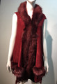 New! Elegant Women's - Faux Fur  Poncho Hooded Cape Burgundy # P205-3