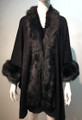 New! Elegant Women's - Faux Fur  Poncho Cape Black # P218-2