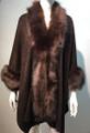 New! Elegant Women's - Faux Fur  Poncho Cape Coffee # P218-4