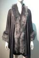 New! Elegant Women's - Faux Fur  Poncho Cape Gray # P218-5