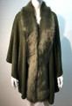 New! Elegant Women's - Faux Fur  Poncho Cape Green # P203-8