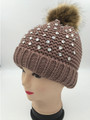 Knit  Rhinestone Hats with Fur Ball Khaiki Dozen #H1172