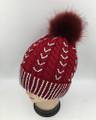 New! Knit Cable Rhinestone Hats with Fur Ball Assorted Dozen #H1239